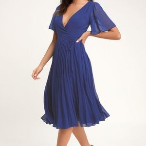 Blue Pleated Midi Dress